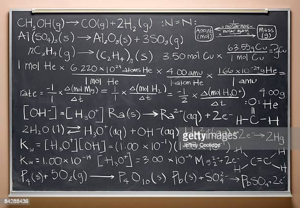 blackboard with equations - chemical formula stock pictures, royalty-free photos & images
