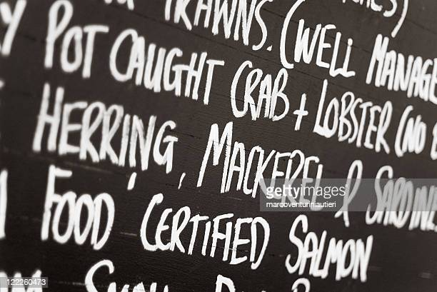 Blackboard with Fish names at the fish market