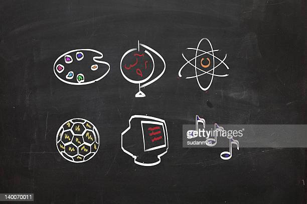Blackboard with school subjects images