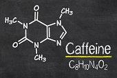 Blackboard with the chemical formula of Caffeine