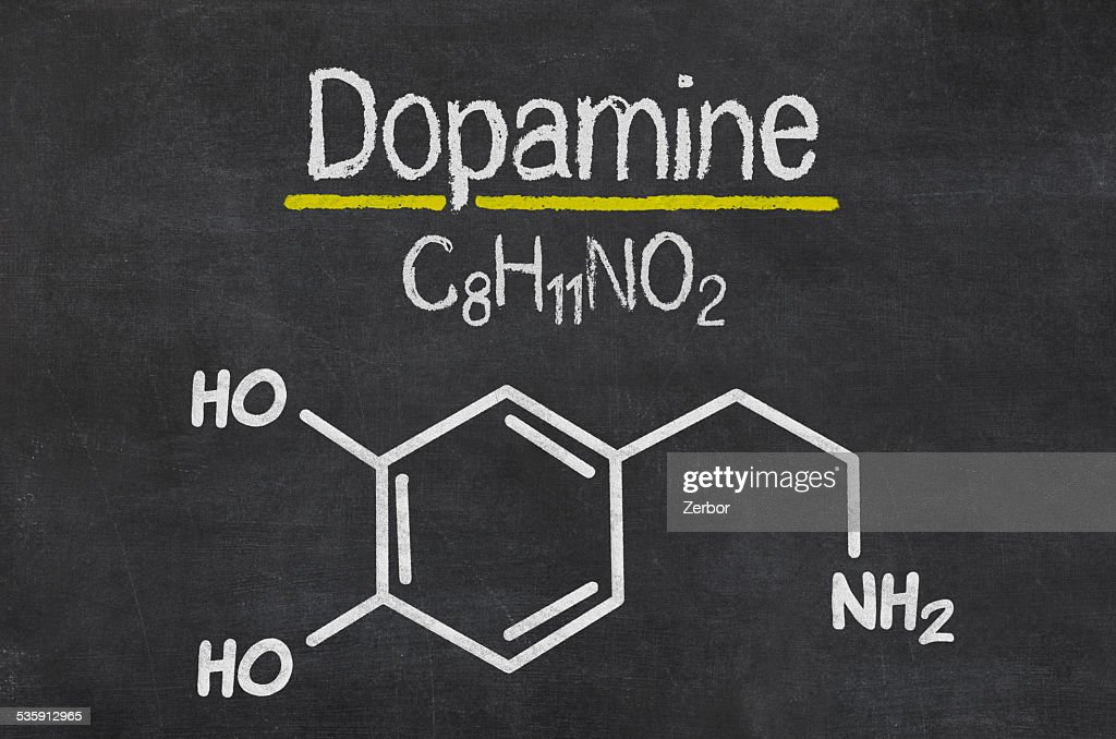 Blackboard with the chemical formula of dopamine : Stock Photo