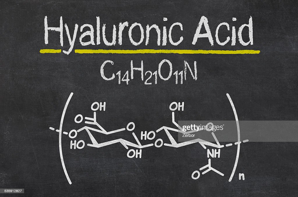 Blackboard with the chemical formula of hyaluronic acid : Stock Photo