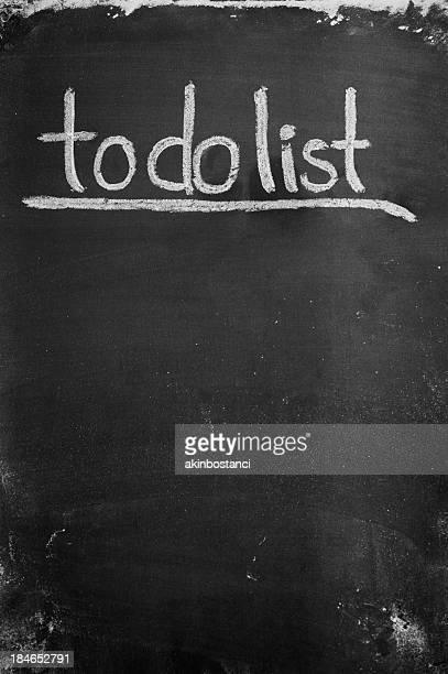 Blackboard with 'to do list' written on it