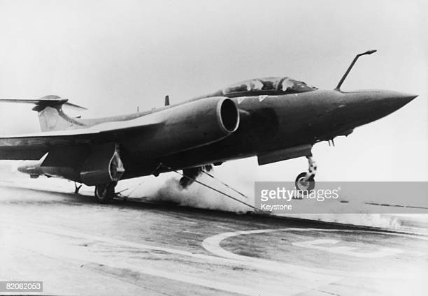 A Blackburn Buccaneer carrying the Prince of Wales takes off from the aircraft carrier 'HMS Ark Royal' 100 miles off the Scottish coast 22nd...