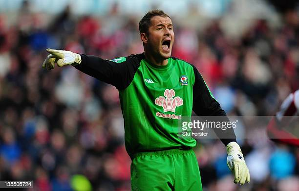 Blackburn goalkeeper Paul Robinson in action during the Barclays premier league game between Sunderland and Blackburn Rovers at Stadium of Light on...