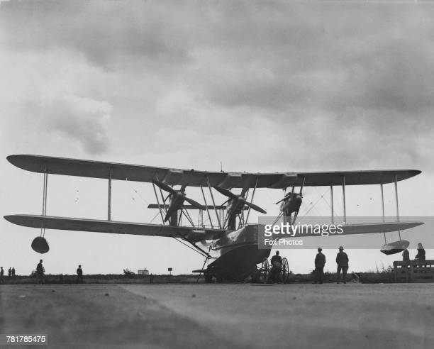 A Blackburn Iris III a British threeengined longrange maritime reconnaissance biplane flying boat undergoing engine tests at Blackburns factory on 25...
