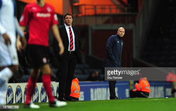 Blackburn manager Henning Berg looks on during the npower Championship match between Blackburn Rovers and Cardiff City at Ewood park on December 7,...