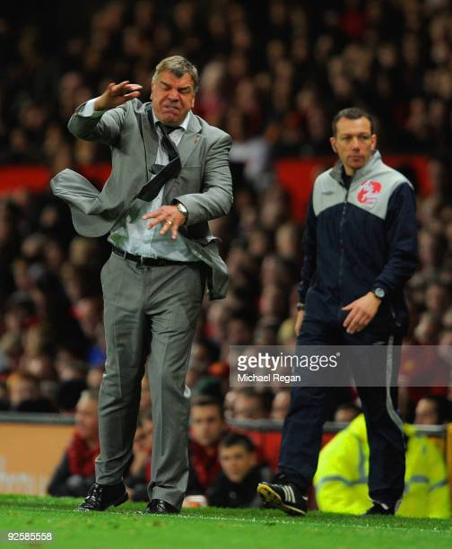Blackburn manager Sam Allardyce gestures during the Barclays Premier League match between Manchester United and Blackburn Rovers at Old Trafford on...