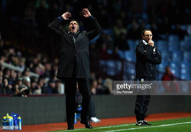 Blackburn manager Sam Allardyce reacts to a near chance during the FA Cup sponsored by EON 3rd Round match between Aston Villa and Blackburn Rovers...