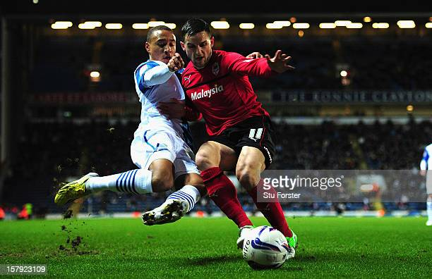Blackburn player Adam Henley challenges Craig Conway during the npower Championship match between Blackburn Rovers and Cardiff City at Ewood park on...