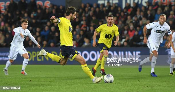Blackburn player Charlie Mulgrew scores the openiong goal from the penalty spot during the Sky bet Championship EFL match between Swansea City v...