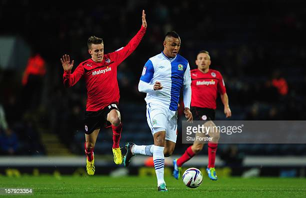 Blackburn player Josh King races away from Craig Noone during the npower Championship match between Blackburn Rovers and Cardiff City at Ewood park...