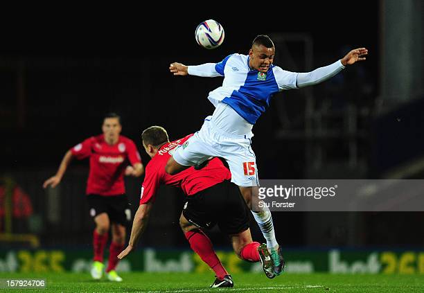 Blackburn player Josh King wins a header during the npower Championship match between Blackburn Rovers and Cardiff City at Ewood park on December 7,...