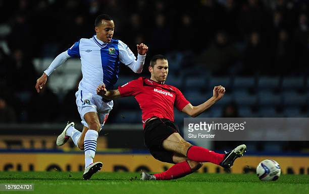 Blackburn player Markus Olsson challenges Matthew Connolly during the npower Championship match between Blackburn Rovers and Cardiff City at Ewood...