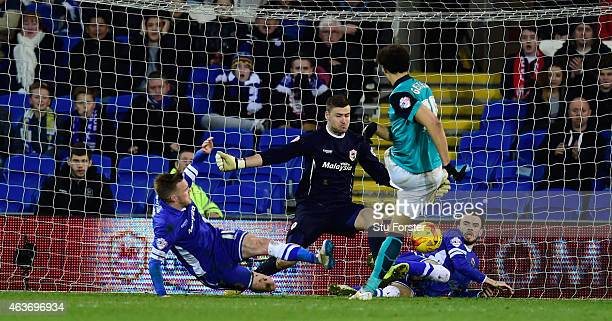 Blackburn player Rudy Gestede fires in the equaliser past goalkeeper David Marshall of Cardiff during the Sky Bet Championship match between Cardiff...