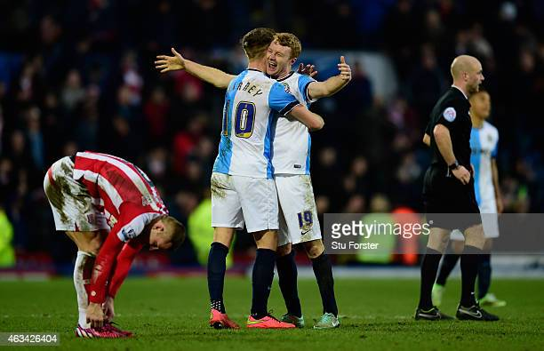 Blackburn players Tom Cairney and Chris Taylor celebrate after the FA Cup Fifth round match between Blackburn Rovers and Stoke City at Ewood park on...
