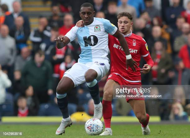 Blackburn Rovers' Adam Armstrong and Nottingham Forest's Matty Cash during the Sky Bet Championship match between Blackburn Rovers and Nottingham...