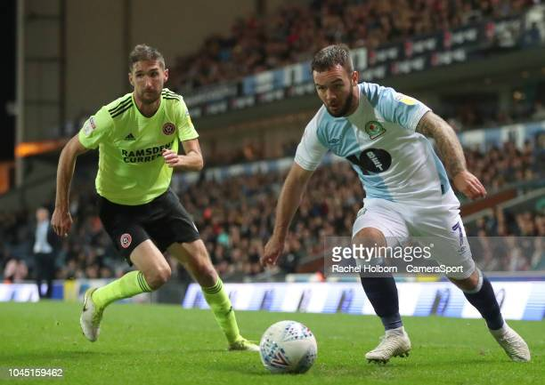 Blackburn Rovers' Adam Armstrong and Sheffield United's Enda Stevens during the Sky Bet Championship match between Blackburn Rovers and Sheffield...