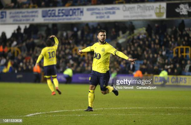 Blackburn Rovers' Adam Armstrong celebrates scoring his side's second goal during the Sky Bet Championship match between Millwall and Blackburn...