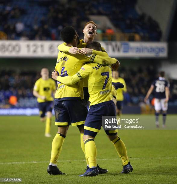 Blackburn Rovers' Adam Armstrong celebrates scoring his side's second goal with Joe Nuttall and Harrison Reed during the Sky Bet Championship match...