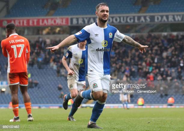 Blackburn Rovers' Adam Armstrong celebrates scoring his side's second goal during the Sky Bet League One match between Blackburn Rovers and Blackpool...