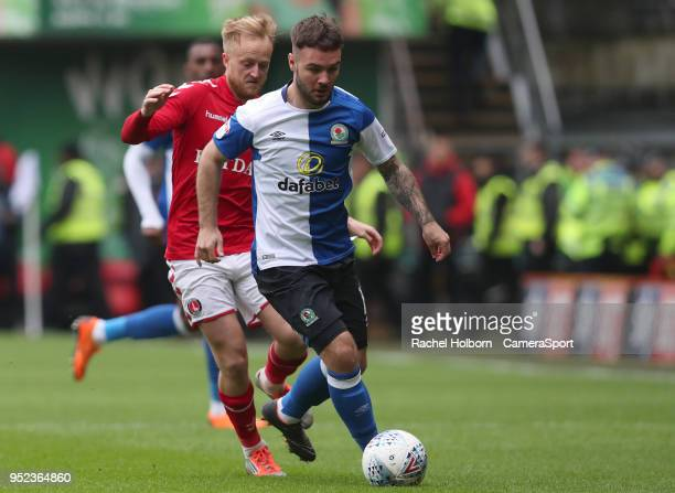 Blackburn Rovers' Adam Armstrong during the Sky Bet League One match between Charlton Athletic and Blackburn Rovers at The Valley on April 28 2018 in...