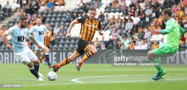 HULL ENGLAND AUGUST Blackburn Rovers' Adam Armstrong forces a save from Hull City keeper during the Sky Bet Championship match between Hull City and...