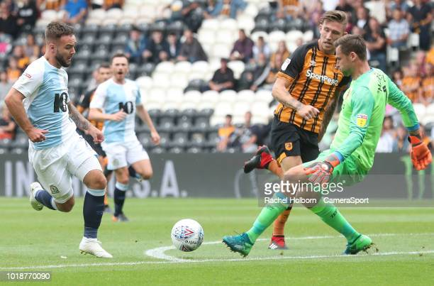 Blackburn Rovers' Adam Armstrong forces a save from Hull City keeper during the Sky Bet Championship match between Hull City and Blackburn Rovers at...