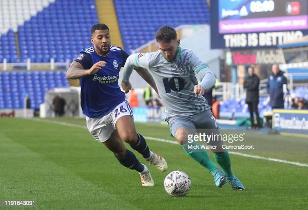 Blackburn Rovers Adam Armstrong in action with Birmingham City's David Davis during the FA Cup Third Round match between Birmingham City and...