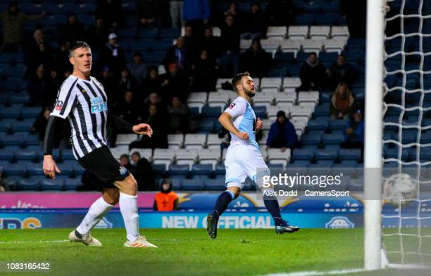 Blackburn Rovers' Adam Armstrong scores his side's first goal during the FA Cup Third Round Replay match between Blackburn Rovers and Newcastle...