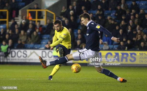 Blackburn Rovers' Adam Armstrong scores his side's second goal during the Sky Bet Championship match between Millwall and Blackburn Rovers at The Den...