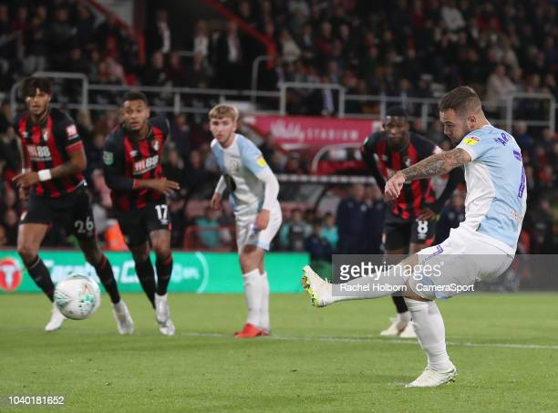 Blackburn Rovers' Adam Armstrong scores his side's second goal from a penalty during the Carabao Cup Third Round match between AFC Bournemouth and...
