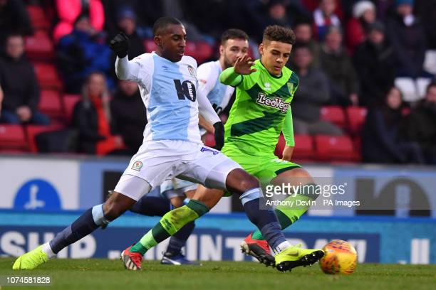 Blackburn Rovers' Amari'i Bell and Norwich City's Max Aarons battle for the ball during the Sky Bet Championship match at Ewood Park Blackburn