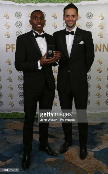 Blackburn Rover's Amari'i Bell and PFA chairman Ben Purkiss poses with the PFA League One Team of the Year award during the 2018 PFA Awards at the...