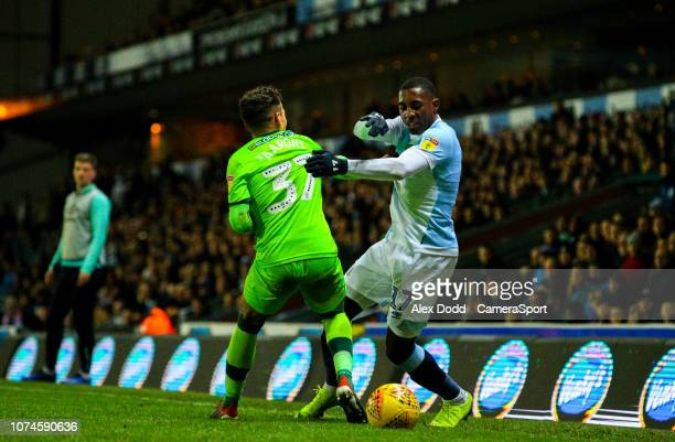 Blackburn Rovers' Amari'i Bell takes on Norwich City's Max Aarons during the Sky Bet Championship match between Blackburn Rovers and Norwich City at...