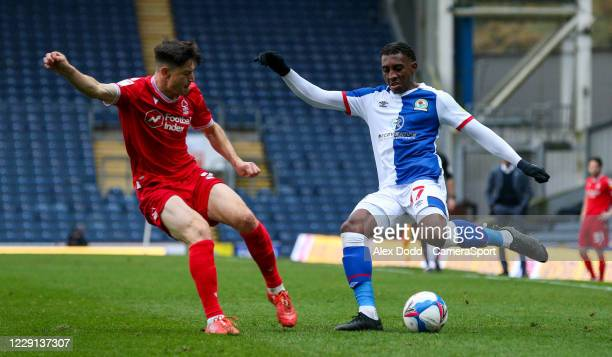 Blackburn Rovers' Amari'i Bell takes on Nottingham Forest's Joe Lolley during the Sky Bet Championship match between Blackburn Rovers and Nottingham...