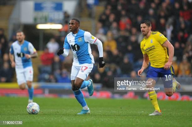 Blackburn Rovers' Amari'i Bell under pressure from Birmingham City's Lukas Jutkiewicz during the Sky Bet Championship match between Blackburn Rovers...