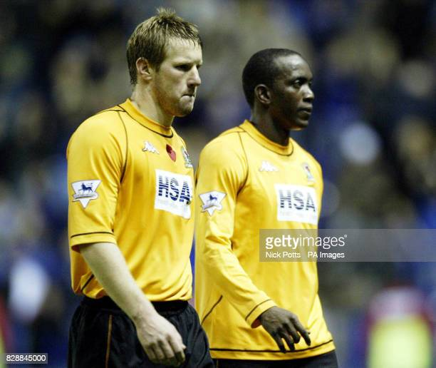 Blackburn Rovers' Andy Todd and Dwight Yorke show their dejection after the FA Barclaycard Premiership match against Leicester City at the Walkers...