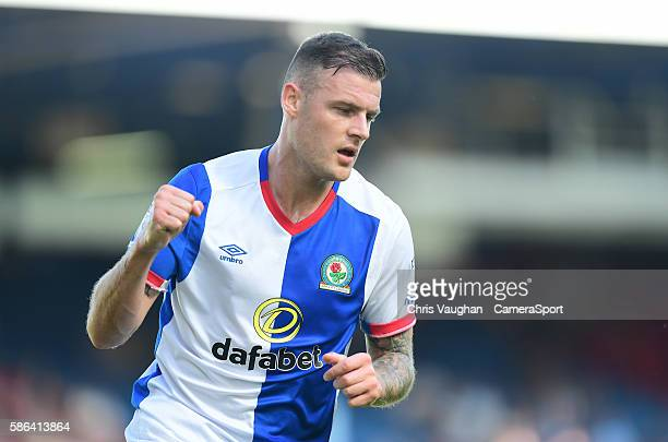 Blackburn Rovers' Anthony Stokes celebrates scoring his sides first goal during the EFL Sky Bet Championship match between Blackburn Rovers and...