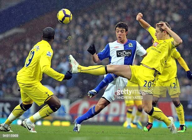 Blackburn Rovers' Argentinian forward Franco Di Santo vies with Tottenham Hotspur's English defender Michael Dawson and Tottenham Hotspur's...