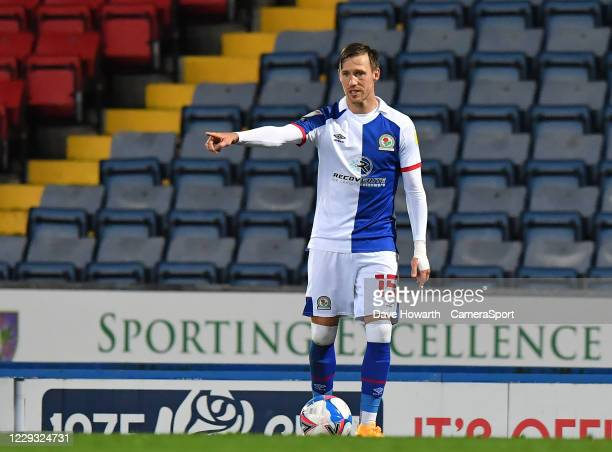 Blackburn Rovers' Barry Douglas during the Sky Bet Championship match between Blackburn Rovers and Reading at Ewood Park on October 27 2020 in...