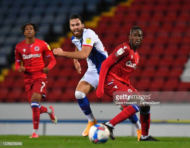 Blackburn Rovers' Ben Brereton battles with Reading's Omar Richards during the Sky Bet Championship match between Blackburn Rovers and Reading at...