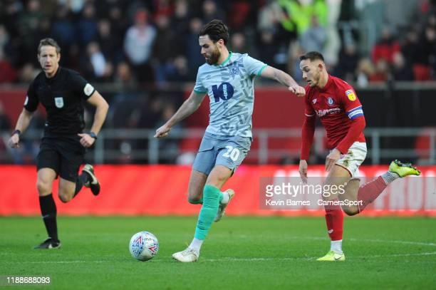 Blackburn Rovers' Ben Brereton under pressure from Bristol City's Josh Brownhill during the Sky Bet Championship match between Bristol City and...
