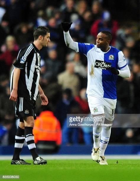 Blackburn Rovers' Benedict McCarthy celebrates after scoring the first goal past Newcastle United's Sanchez Jose Enrique