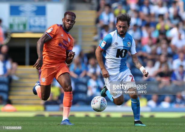 Blackburn Rovers' Bradley Dack and Cardiff City Leandro Bacuna during the Sky Bet Championship match between Blackburn Rovers and Cardiff City at...