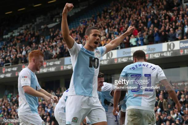 Blackburn Rovers' Bradley Dack celebrates scoring his side's second goal with Blackburn Rovers' Jack Rodwell during the Sky Bet Championship match...