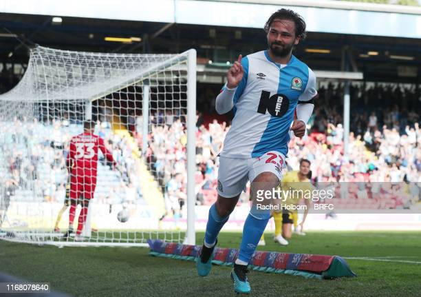 Blackburn Rovers' Bradley Dack celebrates scoring his side's second goal during the Sky Bet Championship match between Blackburn Rovers and Millwall...