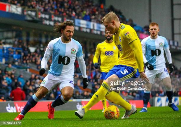 Blackburn Rovers' Bradley Dack goes past Birmingham City's Kristian Pedersen during the Sky Bet Championship match between Blackburn Rovers and...