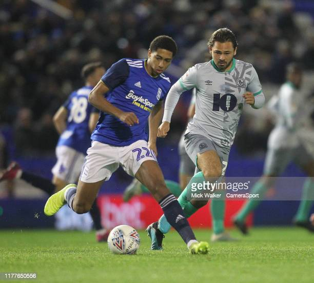 Blackburn Rovers Bradley Dack in action with Birmingham City's Jude Bellingham during the Sky Bet Championship match between Birmingham City and...