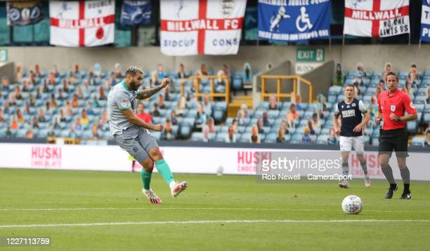 Blackburn Rovers' Bradley Johnson with a first half shot during the Sky Bet Championship match between Millwall and Blackburn Rovers at The Den on...
